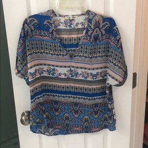 Tops - Floral stripe blouse